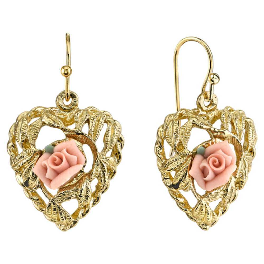 1928 Jewelry Womens Porcelain Gold-Tone Pink Porcelain Rose Heart Earrings NEW