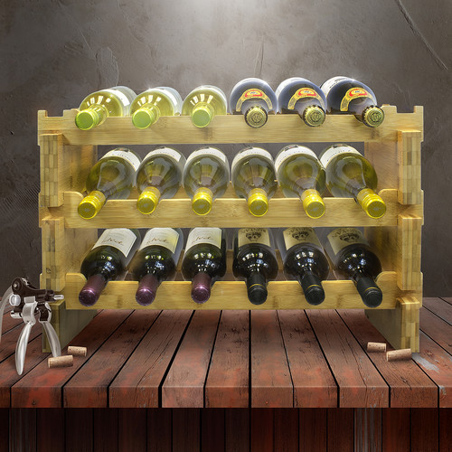 Sorbus 3-Tier Stackable Bamboo Wine Rack, Holds 18 Bottles, Natural