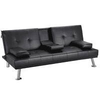 LuxuryGoods Modern PU Leather Futon w/ Cupholders & Pillows, Multiple Colors