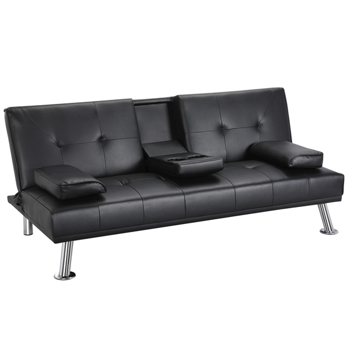 LuxuryGoods Modern PU Leather Futon With Armrests & Cupholders