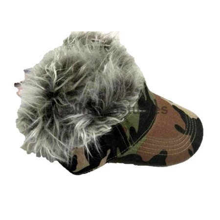 72d7ce74 Spiked Hair Camo Visor Cap Joke Novelty Gag Gift Fake Faux Grey Fur Golf Hat  Men ...