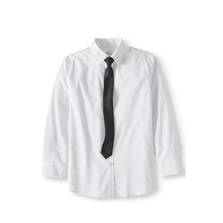 Stretch Dobby Long Sleeve Dress Shirt and Tie, 2-Piece Set (Little Boys & Big Boys)