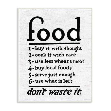 The Stupell Home Decor Collection Food Steps Don't Waste It Subtle Birch Typography Oversized Wall Plaque Art, 12.5 x 0.5 x 18.5