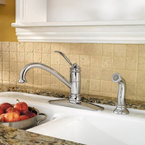 Pfister Brookwood F-034-4ALC Single Handle Kitchen Faucet with Side Spray