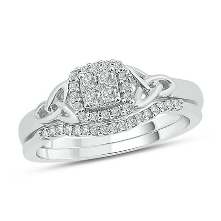 Diamond Set Celtic Ring - 1/4 ct tw round diamond celtic symbol engagement wedding set in sterling silver.