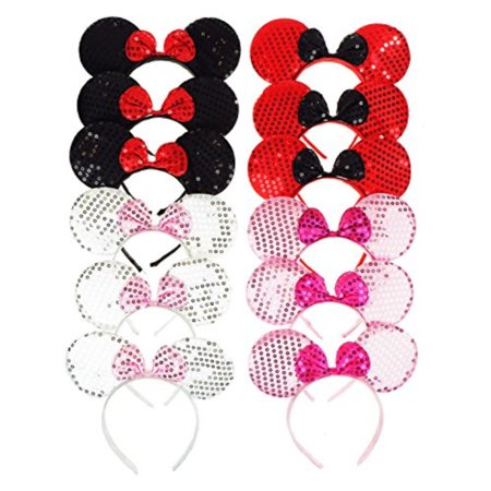 Mickey And Minnie Baby Costumes (RufNTop Mickey and Minnie Mouse Sequins Ears Headband for Boys and Girls Costume Accessory for Birthday Party or)