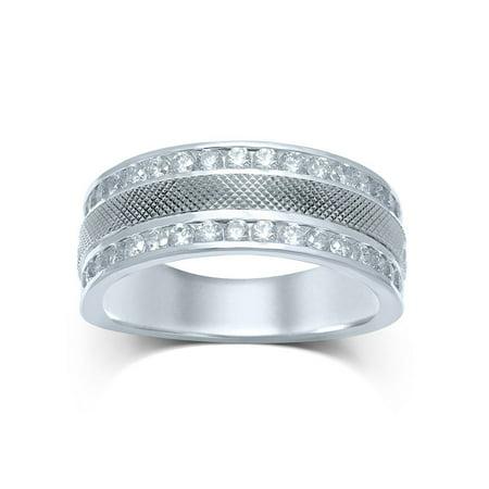 14kt White Gold Mens Round Diamond Double Row Textured Wedding Band Ring 1.00 Cttw - image 1 de 1