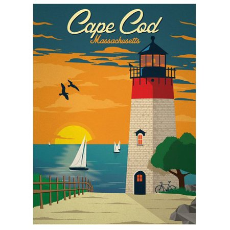 Vintage Art CAPE COD Massachusetts STICKER (ma rv
