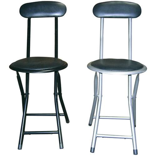 Ore International Black Silver Folding Chair Set 2pk