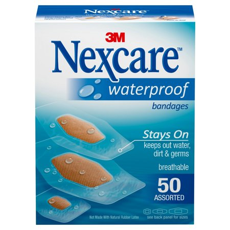 Waterproof Bandage Covers - Nexcare Waterproof Bandages, 50 ct. Assorted