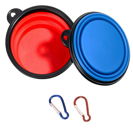 Peroptimist 2 Pcs Collapsible Dog Bowls,  Portable Foldable Water Bowls Food Dishes with Carabiner Clip for Travel, Portable Pet Feeding Watering Bowls for Hiking Camping