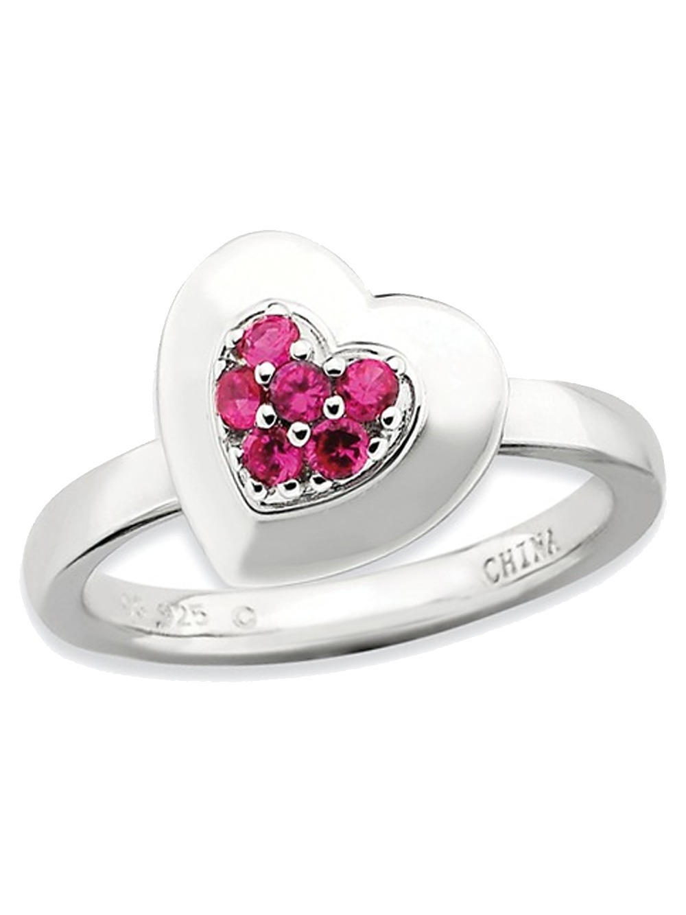 Synthetic Lab Created Ruby Heart Promise Ring in Sterling Silver 1/4 Carat (ctw)