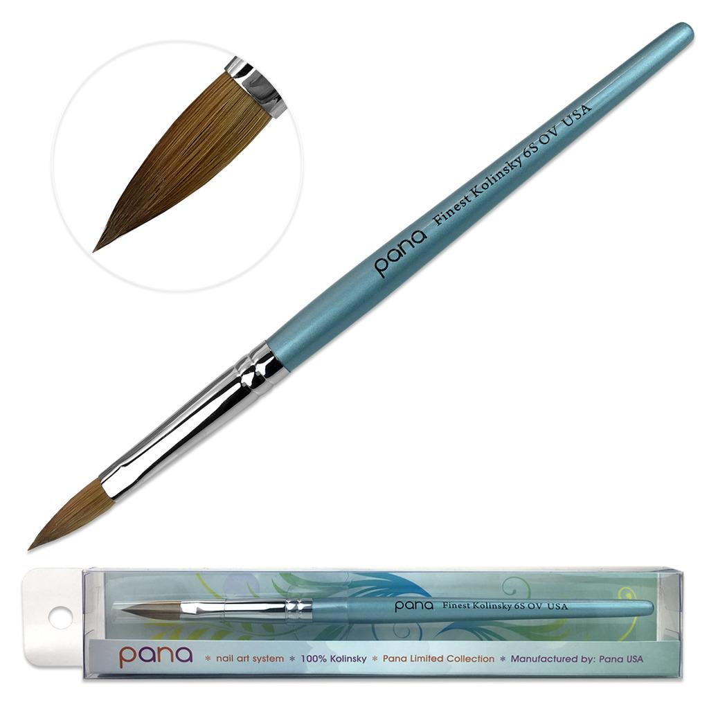 Pana Kolinsky Acrylic Nail Brush with Teal Wood Handle - Size 6