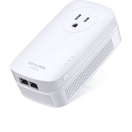 Tp Link Av2000 2 Port Gigabit Passthrough Powerline Starter Kit   2   2 X Network  Rj 45    2000 Mbit S Powerline   984 25 Ft Distance Supported   Homeplug Av2   Gigabit Ethernet  Tl Pa9020pkit