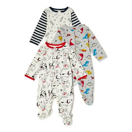 Wonder Nation Baby Boy Cotton Inverted Zipper Sleep 'N Play, 3-Pack