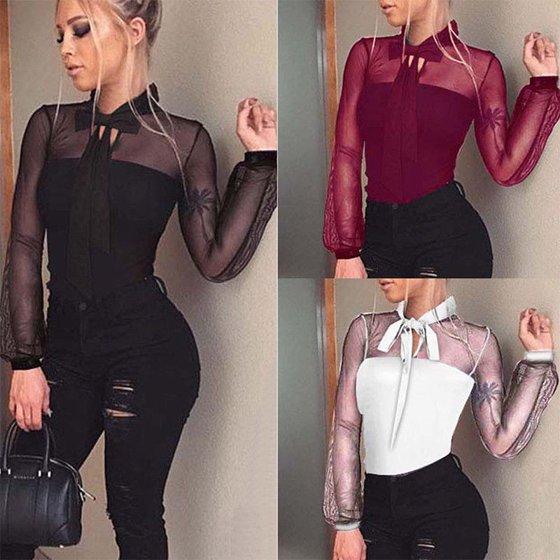 Urkutoba - Women Ladies Sheer Lace Bodysuit Sexy Leotard Long Sleeve Body  Tops T-shirt Jumpsuit - Walmart.com 3b483d3b3