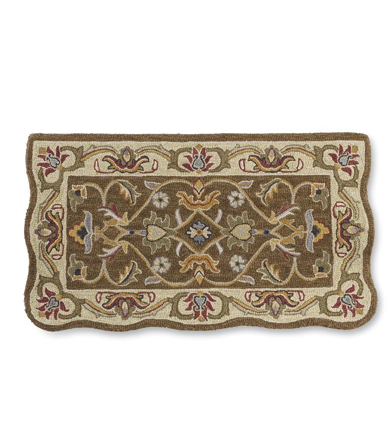 HandTufted Fire Resistant Scalloped Wool McLean Hearth Rug by Plow & Hearth
