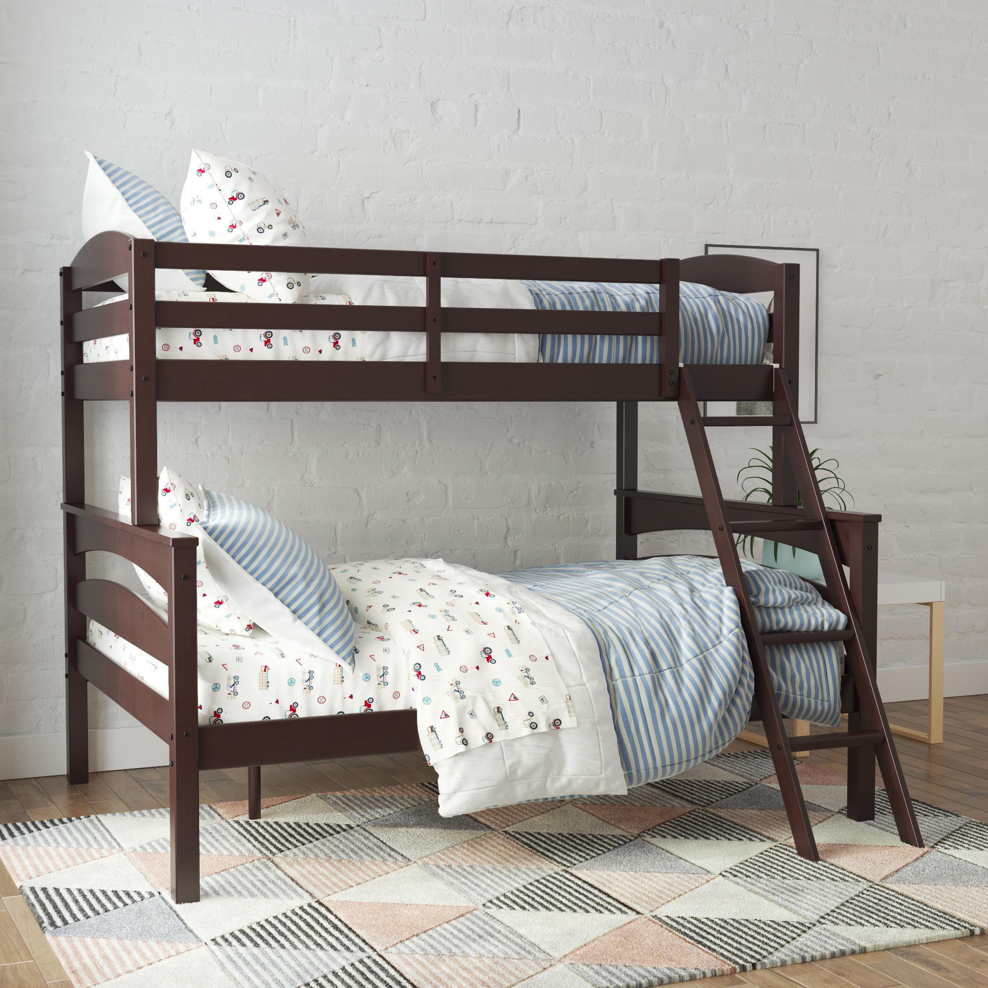 Better Homes Gardens Leighton Wood Twin Over Full Bunk Bed Espresso Walmart Com