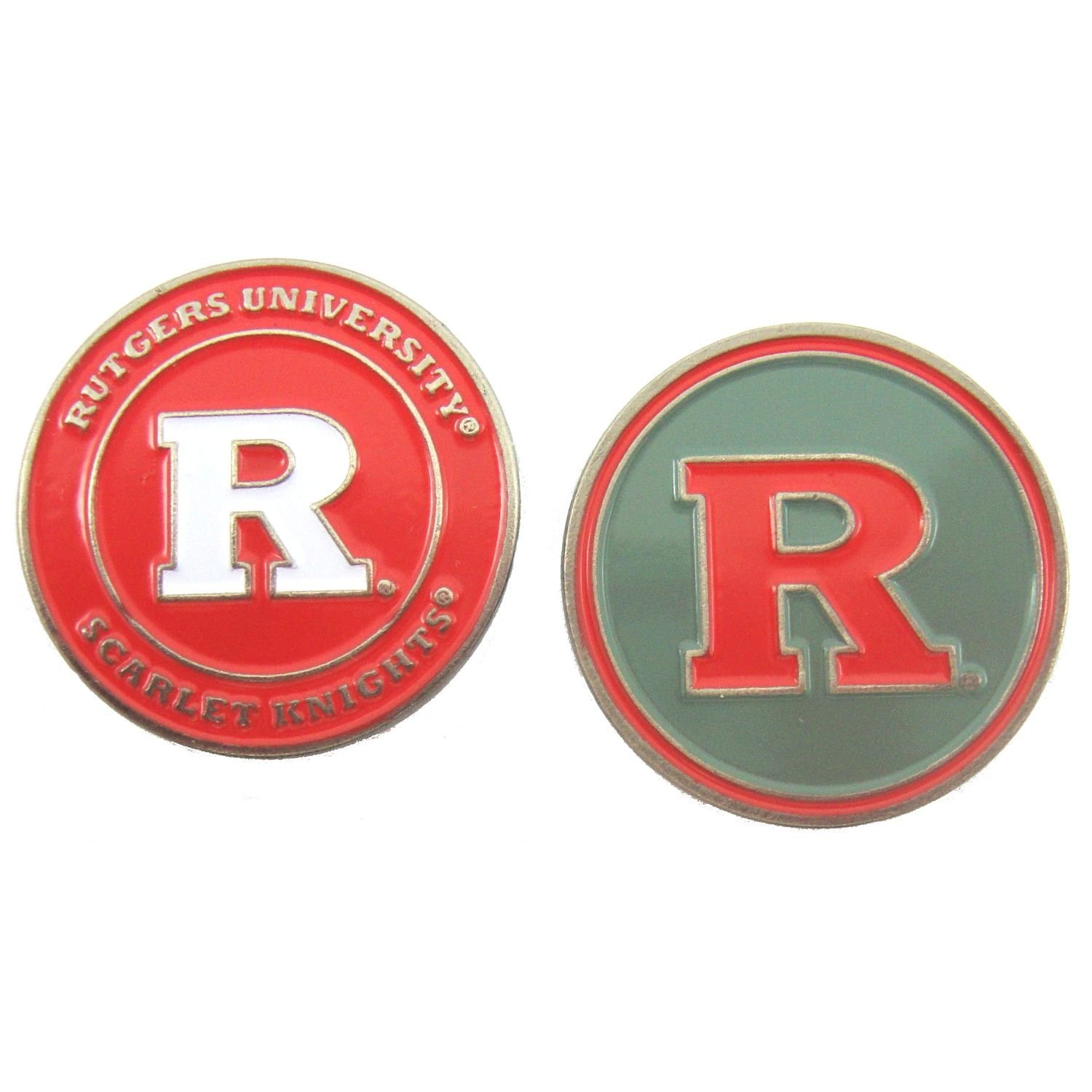 Rutgers Scarlet Knights Double Sided Golf Ball Marker, Rutgers University Ball Marker By Waggle Pro Shop,USA