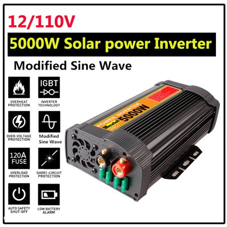 5000W 6000W Peak 10000W 12000W Solar Power Inverter 12V DC To 110V AC Modified Sine Wave Converter Adapter Switch Over Temperature Protection 2-USB  Port for Car Outdoor Household