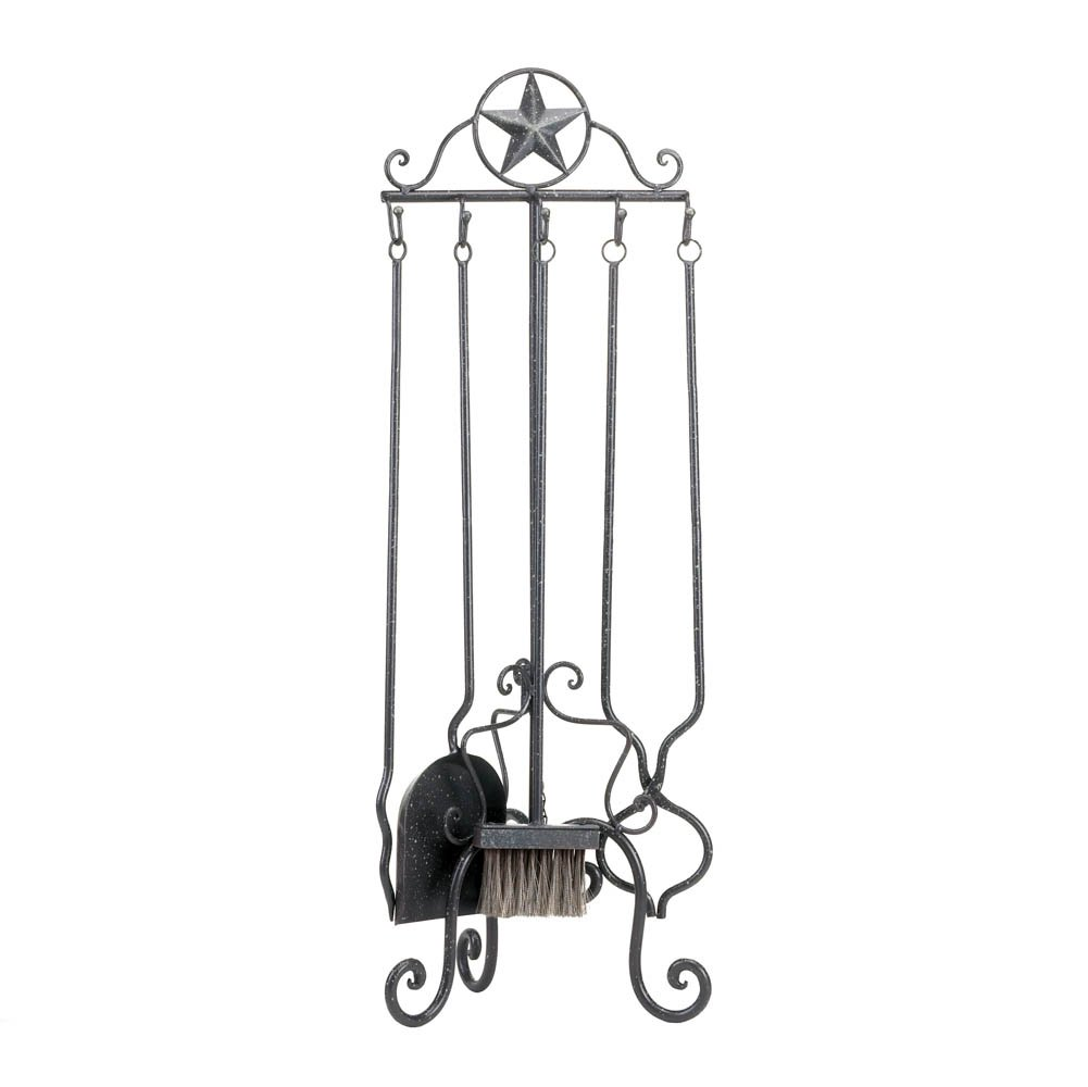 Decorative Fireplace Tools, Rustic Iron Fireplace Tool Set - Silver Lone Star