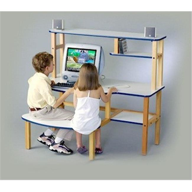 Wild Zoo Furniture B/D wht/wht-wz Grade School Buddy Computer Desk  in White with White Trim