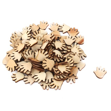 Holiday Wooden Palm Shaped DIY Craft Slices Decoration Beige 20mm x 20mm 100 Pcs - Wooden Halloween Crafts Adults