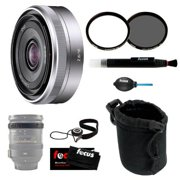 Sony SEL16F28 SEL-16F28 Interchangeable Alpha E-mount 16mm F2.8 Lens (Silver) for NEX Camera + Tiffe