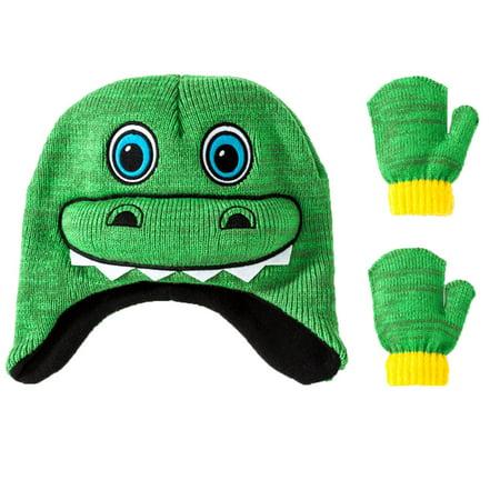 concept one - Little Boys Toddler Green Dinosaur Winter Hat   Mitten Set -  Walmart.com d03761f8034