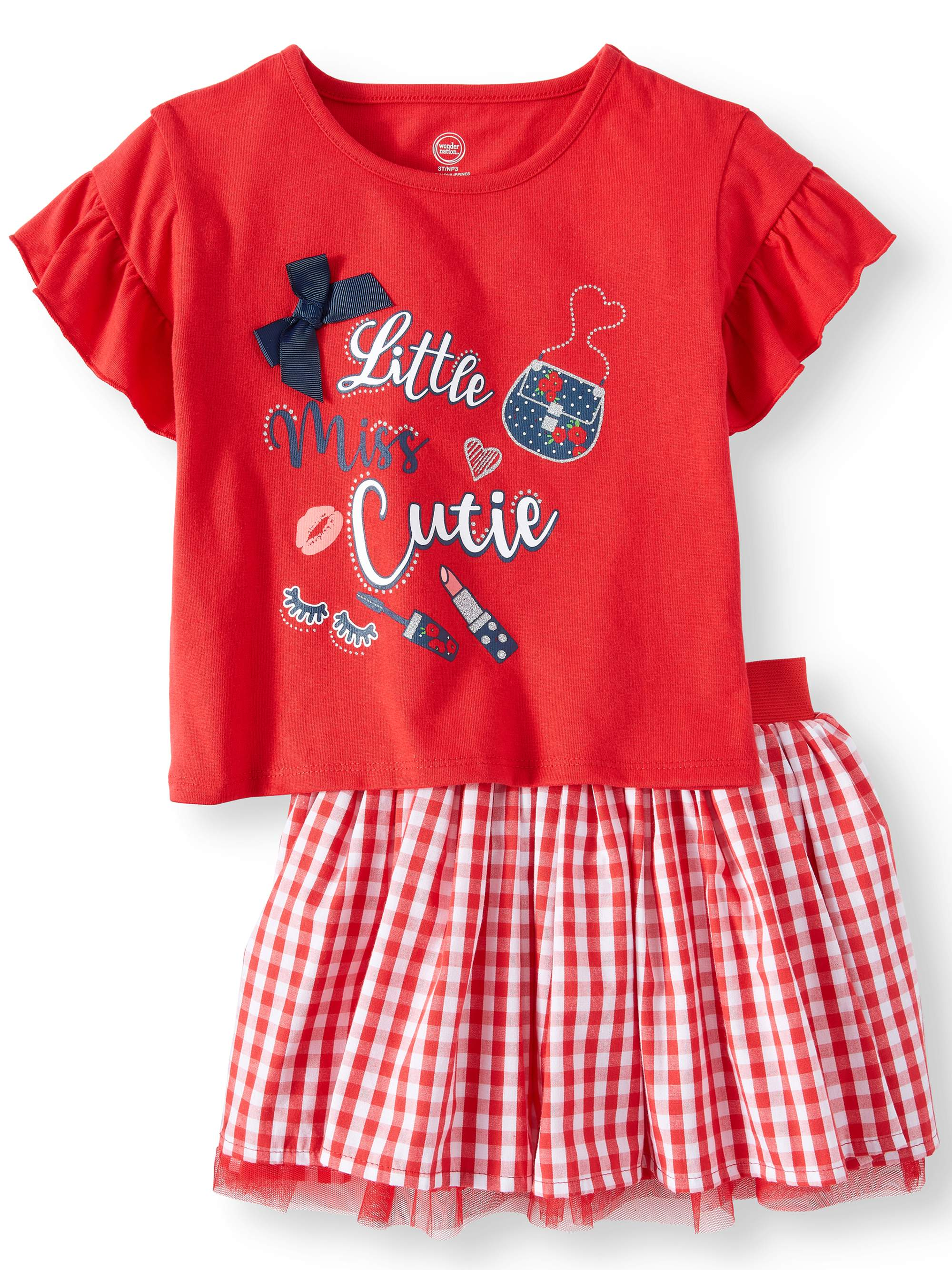 Ruffle Sleeve Top & Reversible Skirt, 2pc Outfit Set (Toddler Girls)