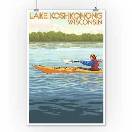 Lake Koshkonong, Wisconsin - Kayak Scene - Lantern Press Poster (9x12 Art Print, Wall Decor Travel (Best Lakes To Kayak In Wisconsin)