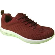 Republic   Women's Wine Lace up Breathable Knit Uppers Sneaker, Size 10
