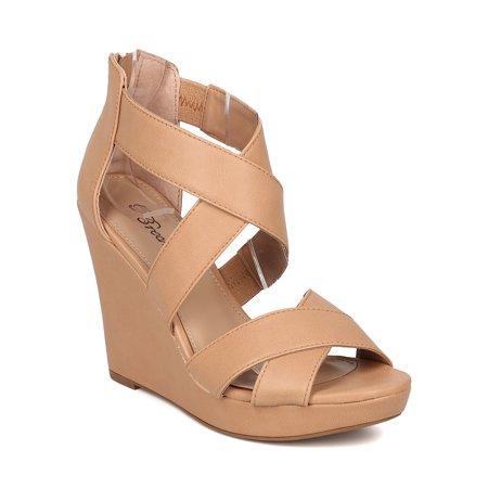 4003192de023 Breckelles - Women Strappy Platform Wedge Sandal - Peep Toe Wedge Heel -  Caged Heel Sandal - HK02 By Breckelles - Walmart.com