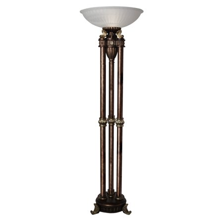- Majestic Floor Lamp - Gold Finish - Frosted Glass Shade