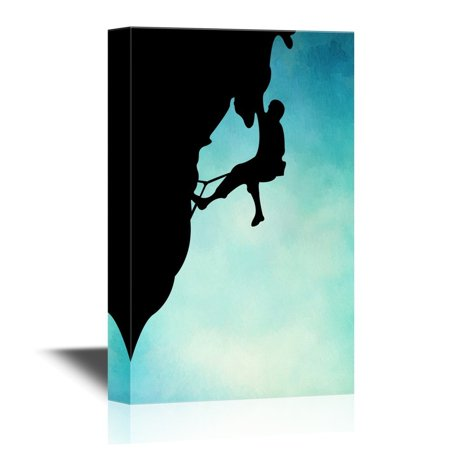wall26 Extreme Sport Canvas Wall Art - Silhouette of Man Climbing Mountain - Gallery Wrap Modern Home Decor | Ready to Hang - 32x48 inches