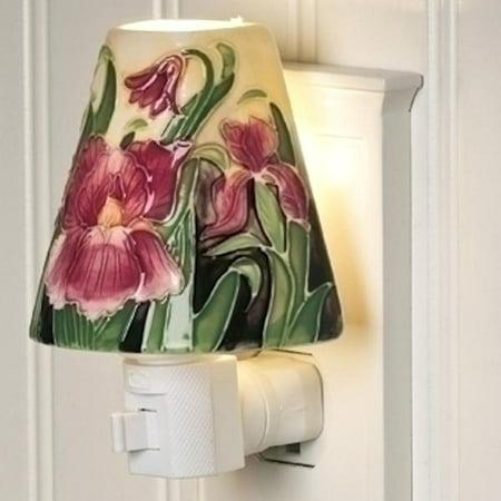 Roman 49289   4 25  Iris Ceramic Shade Night Light  161176