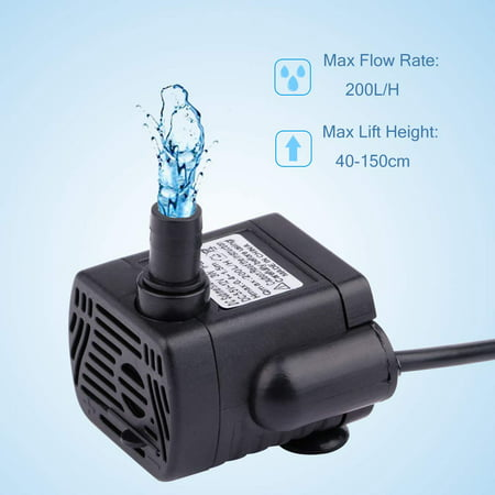 GLiving Water Fountain for Patio, Indoor/Outdoor Fountain, Upgraded 80 GPH   (200L/H, 4W) Submersible Water Pump,Water Pump with 4.9ft(1.5m) Power