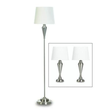 Contemporary Floor Lamp Silver Modern Trio Bedside Table