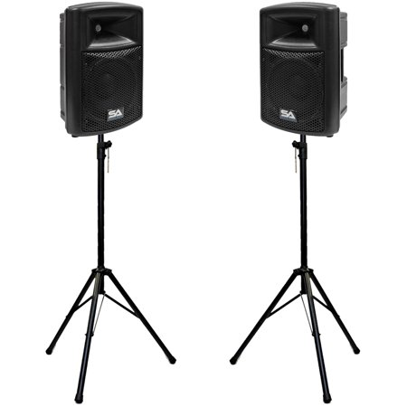 "Seismic Audio Pair of Active 10"" Molded 2-Way PA Loudspeakers with two Tripod Speaker Stands... by"