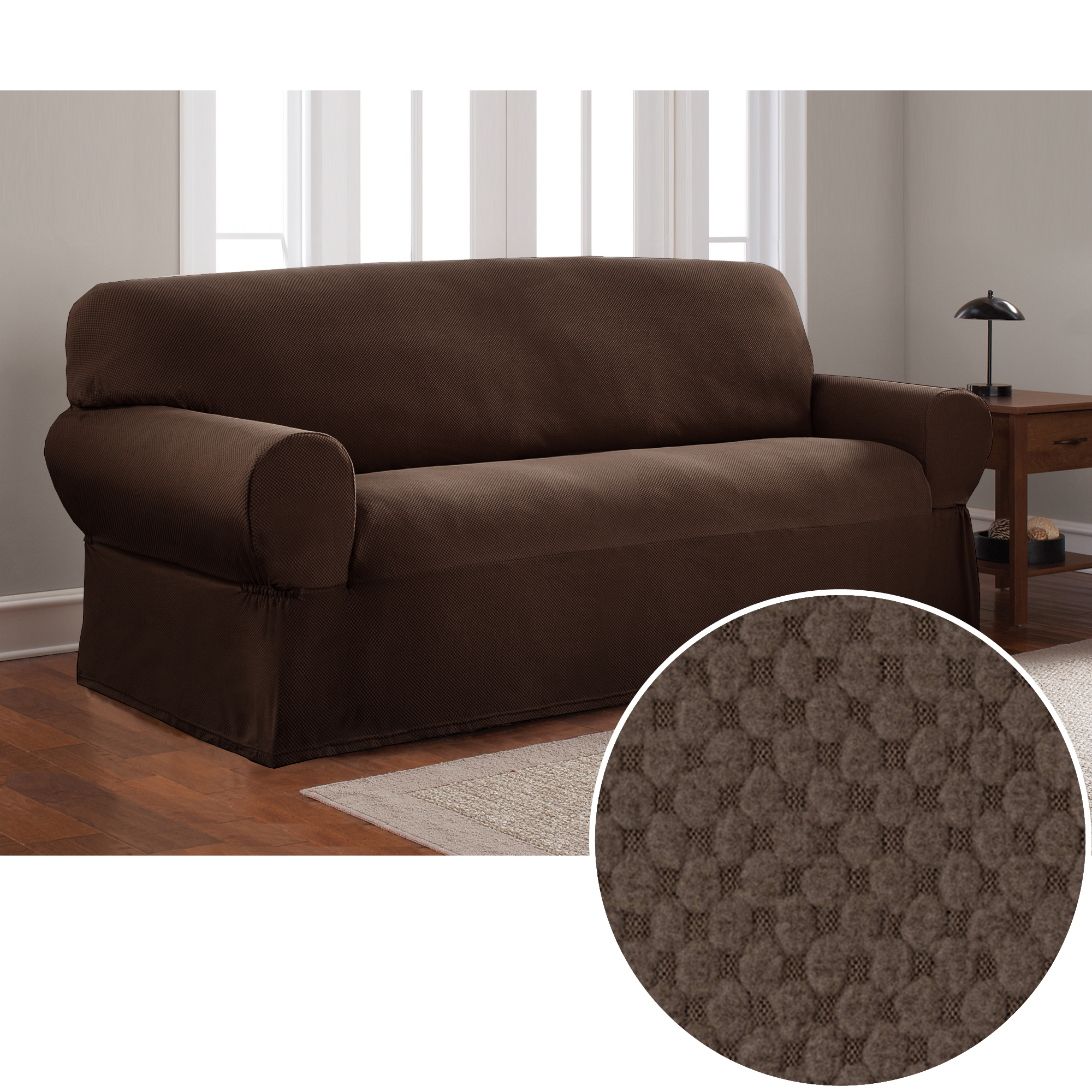Mainstays Stretch Pixel 1 Piece Sofa Furniture Cover Slipcover, Chocolate Brown