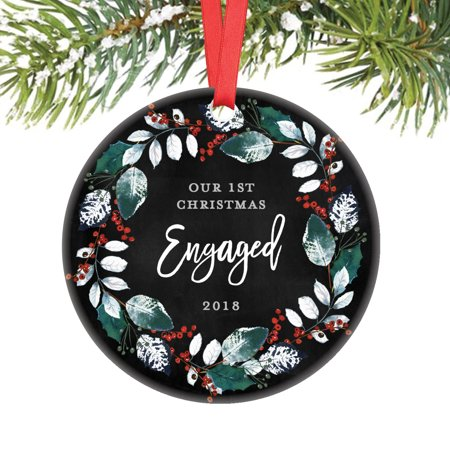 First Christmas Engaged Ornament 2019, 1st Christmas Ornament Engagement Party Gift for Couple Bride to Be Present Ceramic Wreath Keepsake Present 3