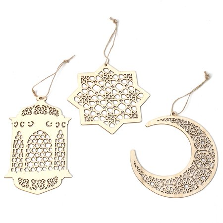 Fancyleo Islam Eid Ramadan Mubarak Hollow Wooden Cecorations Golden Iantern Pendant Party Decorations DIY Decorations 2019 New