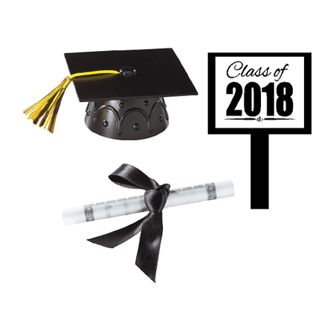 Black Mini Graduation Hat Cake Decoration Topper with Sign and Diploma (Graduation Cakes Ideas)