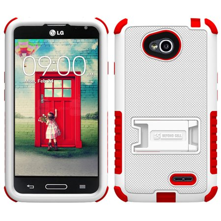 WHITE RED TRI-SHIELD CASE STAND SCREEN PROTECTOR FOR LG OPTIMUS L70 MS323 PHONE (Lg L70 Optimus Phone Case)