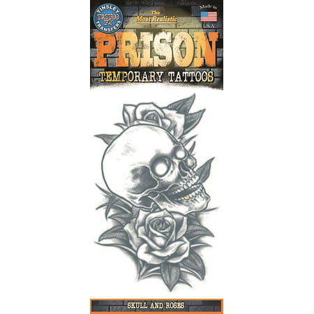 Tinsley Transfers Skull And Roses Prison Temporary Tattoo FX, Black - Skull Rose Tattoo