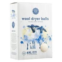 Wool dryer balls set of 6, natural fabric softener