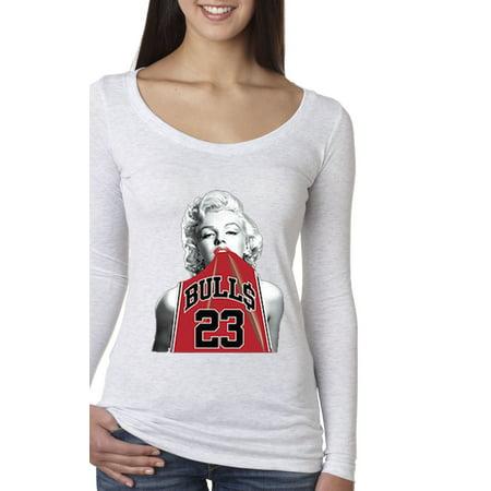 New Way 419 - Women's Long Sleeve T-Shirt Marilyn Monroe Bulls 23 Jordan Red Jersey ()