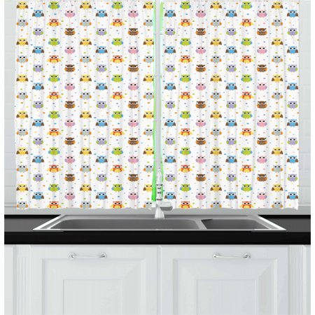 Owls Curtains 2 Panels Set, Angry and Funny Cartoon Mascots with Colorful Dots Childish Sweet Kids Design Pattern, Window Drapes for Living Room Bedroom, 55W X 39L Inches, Multicolor, by Ambesonne (Angry Bird Curtains)