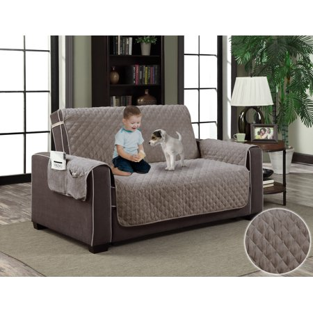 gray micro suede slipcover pet dog cat furniture couch