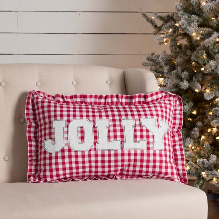 Holly Berry Red Seasonal Decor Emmie Jolly Cotton Appliqued Text Rectangle Pillow (Pillow Cover, Pillow Insert)